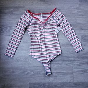 Free People Striped Bodysuit